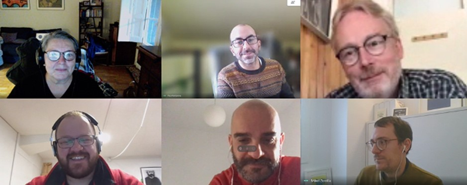 Screenshot of the video meeting of different organizations to discuss cross-fertilisation for media co-creation copyrights across three Horizon 2020 funded projects