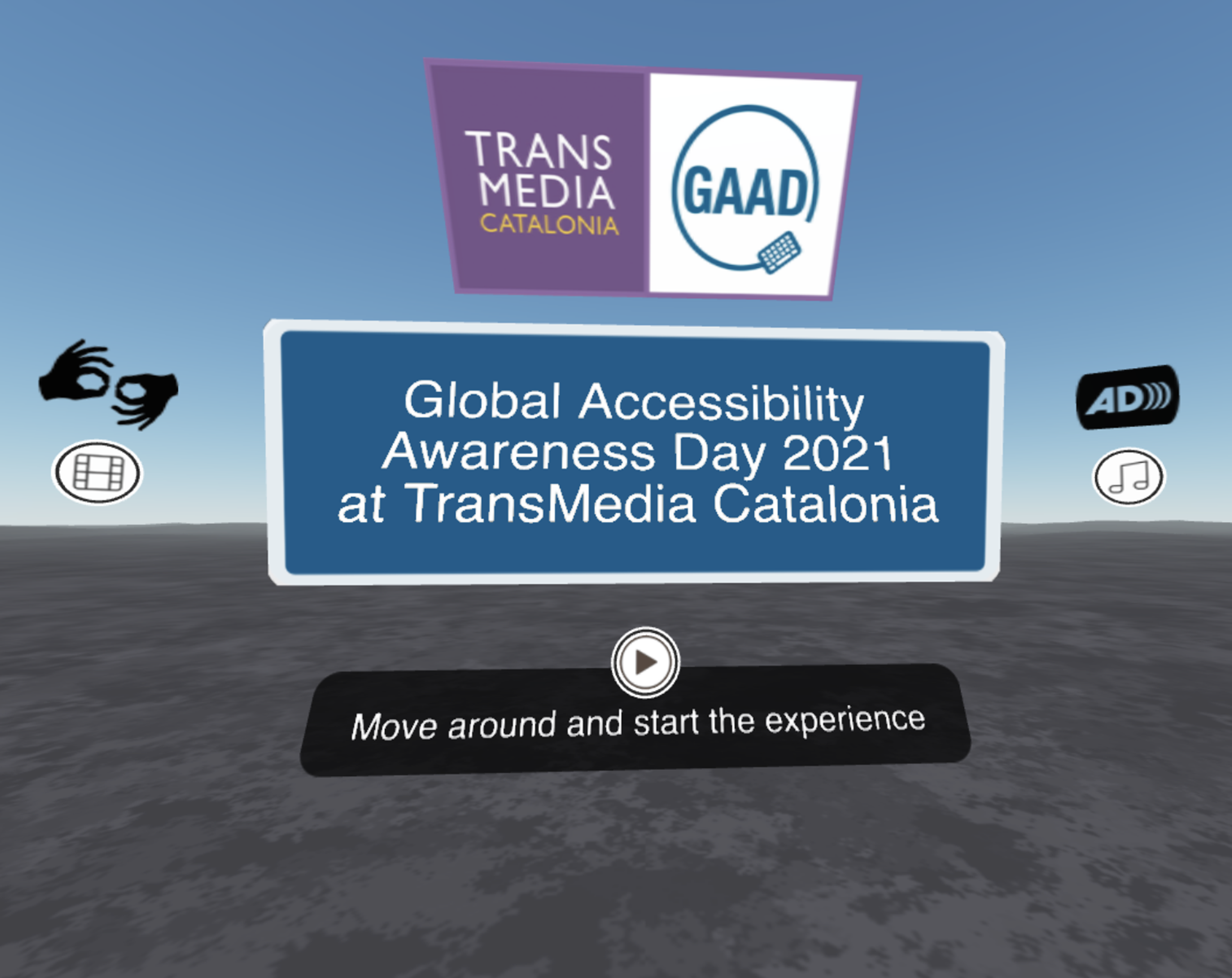 StartScreen of GAAD 360 experience with icons indicating where to open sign language video and subtitles